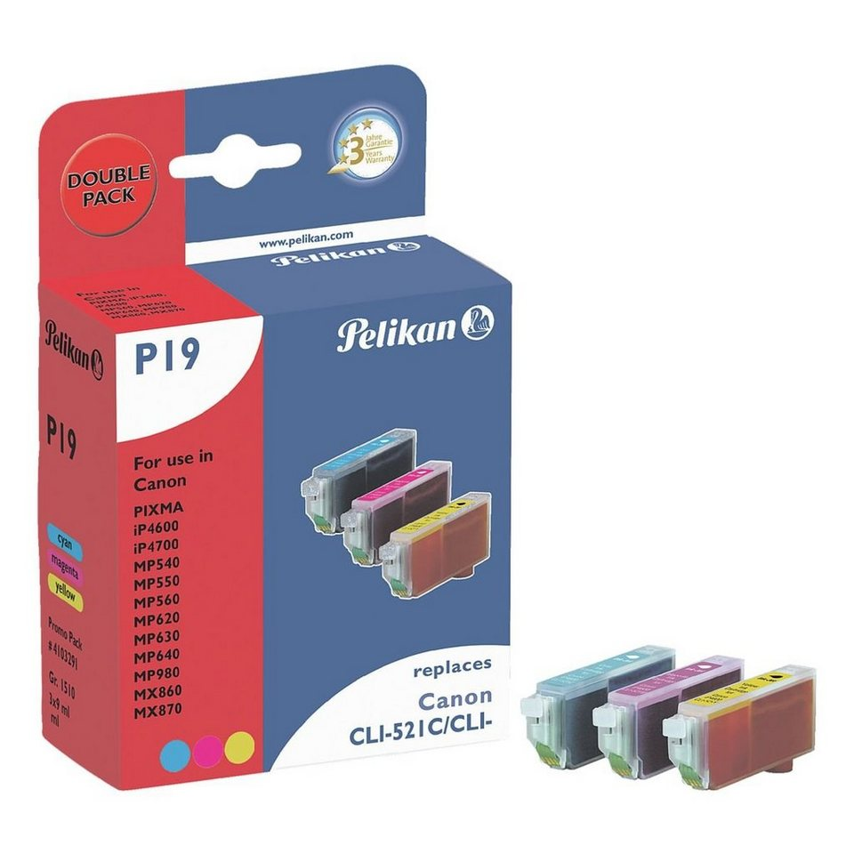 Pelikan Tintenpatronen-Set ersetzt Canon »CLI-521 C/M/Y«
