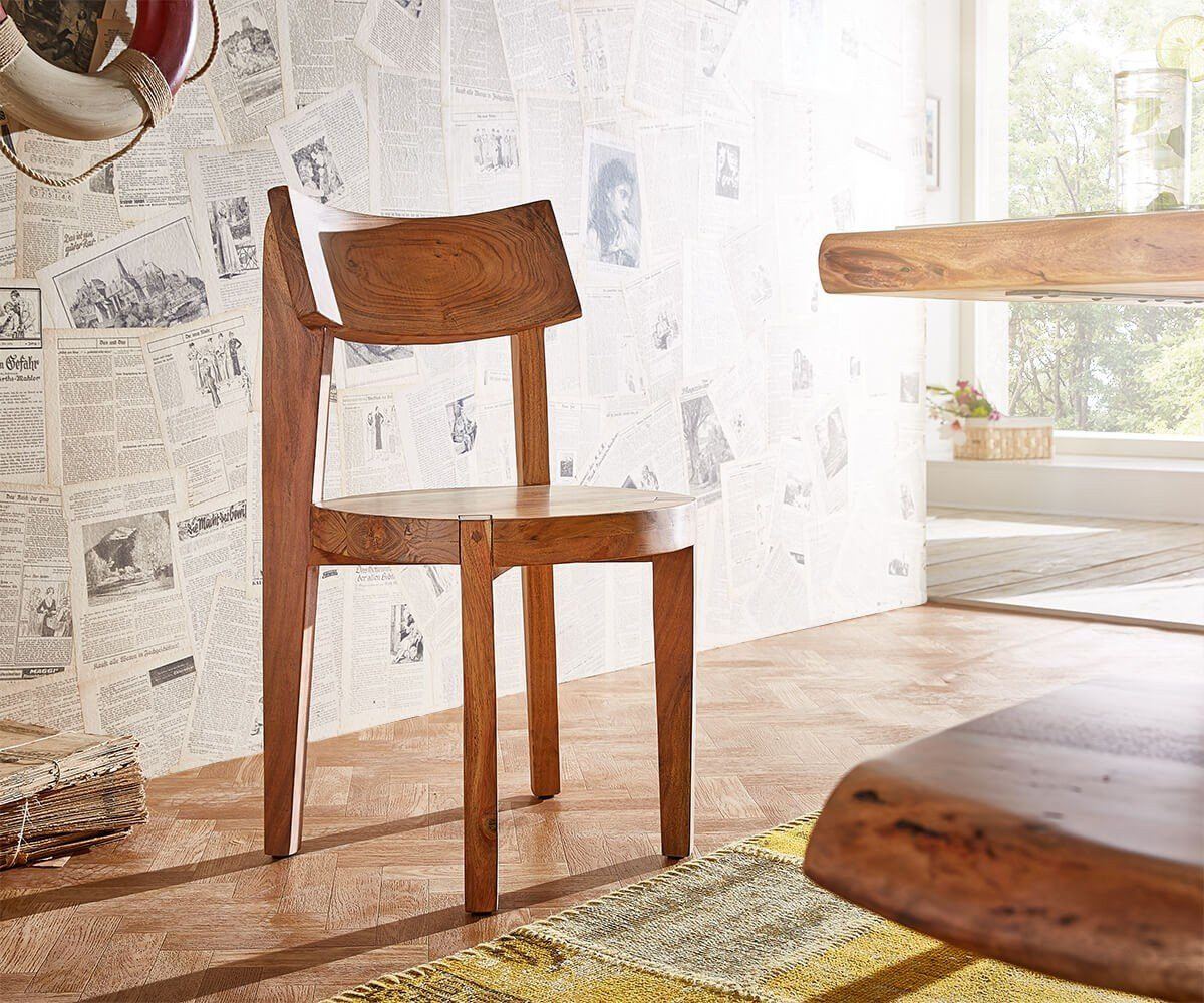 DELIFE Stuhl Live-Edge Akazie Natur Sitz rund Massivholz Esszimmerstuhl