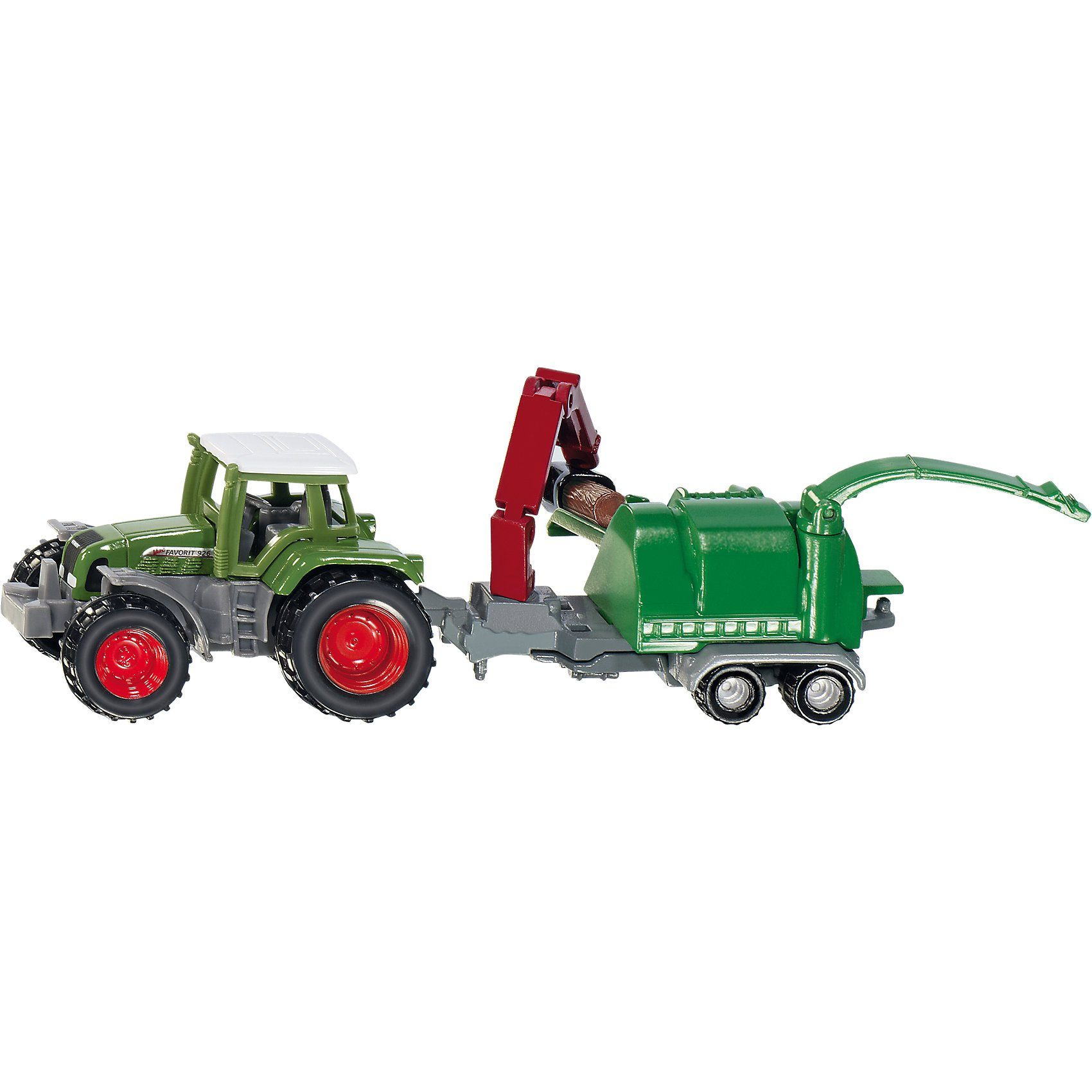 SIKU 1675 Traktor mit Holzhäcksler