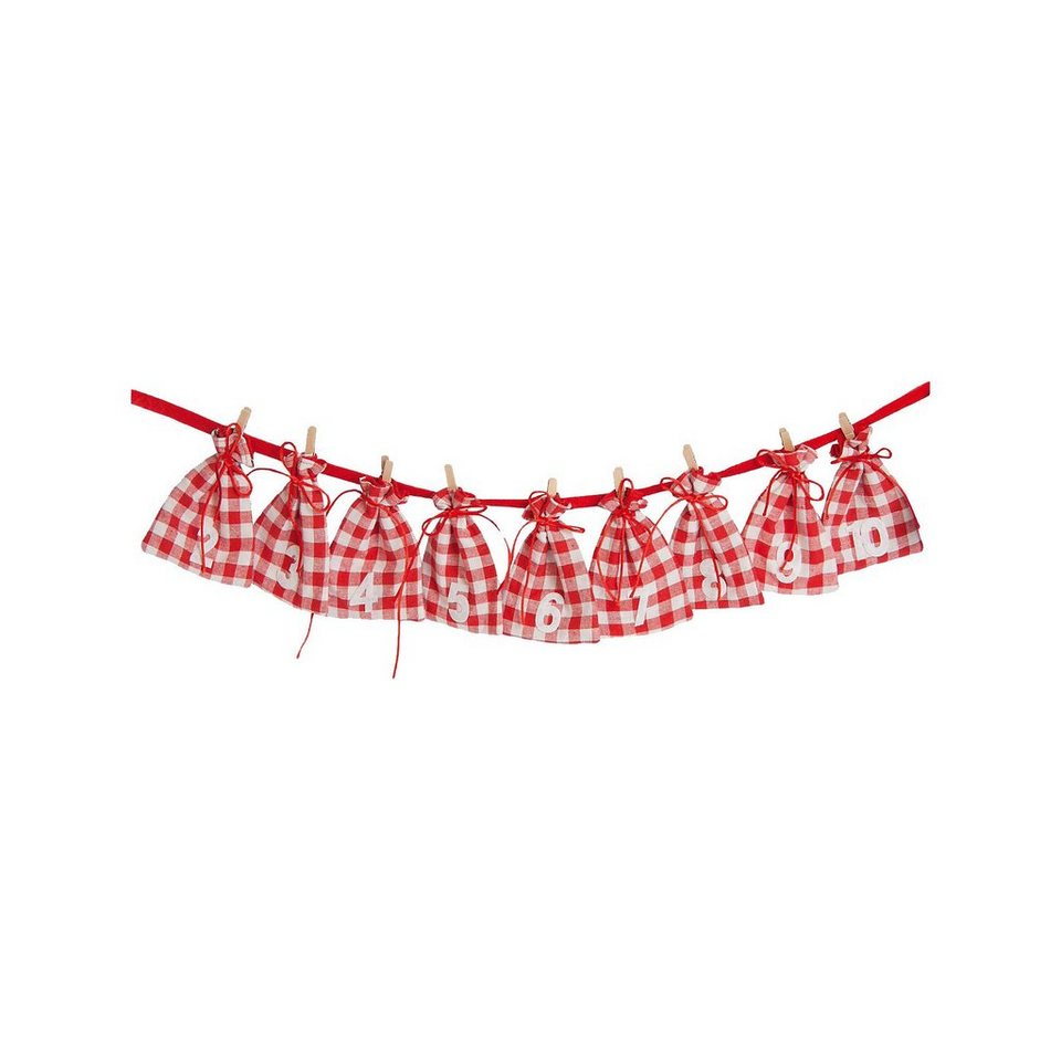 Hotex Adventskalender Girlande Beutel rot/weiß kariert, 185 cm online kaufen