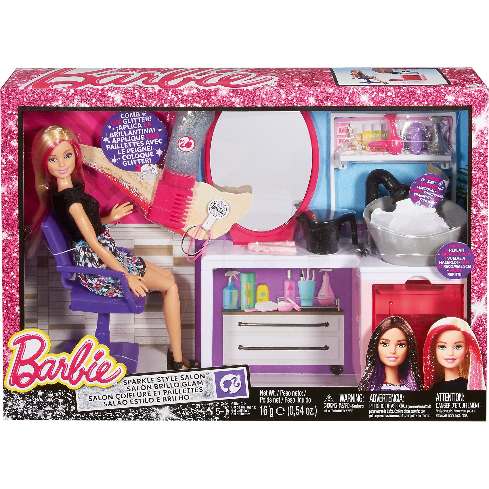 Mattel Barbie Glitzer-Salon & Puppe blond