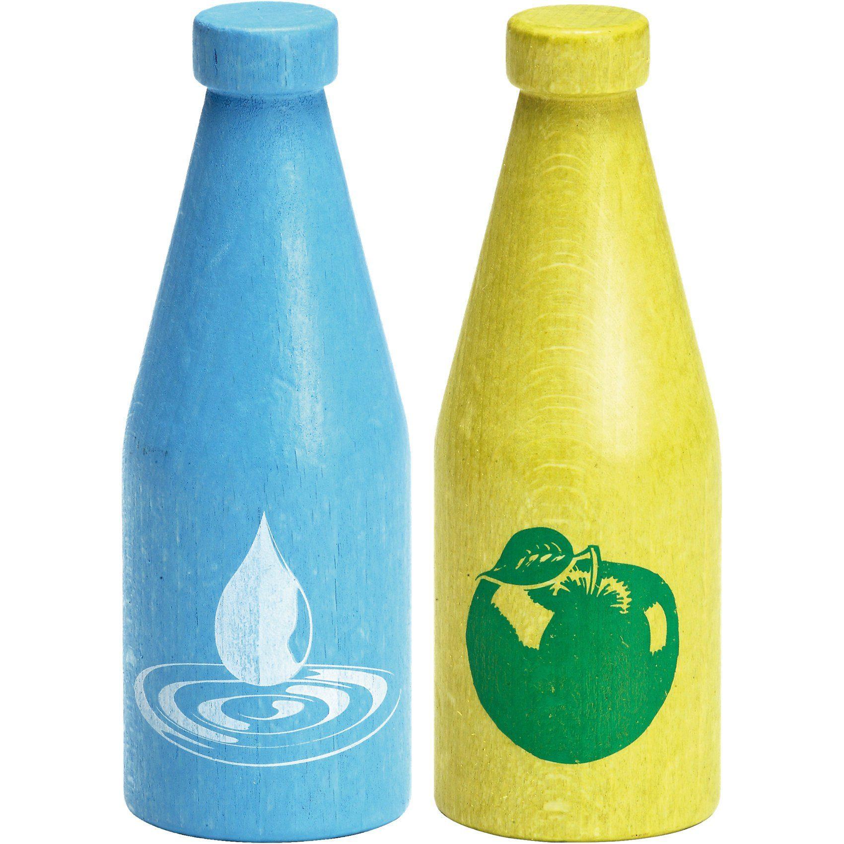 ERZI Spiellebensmittel Set: Flasche Wasser + Apfelsaft aus Holz