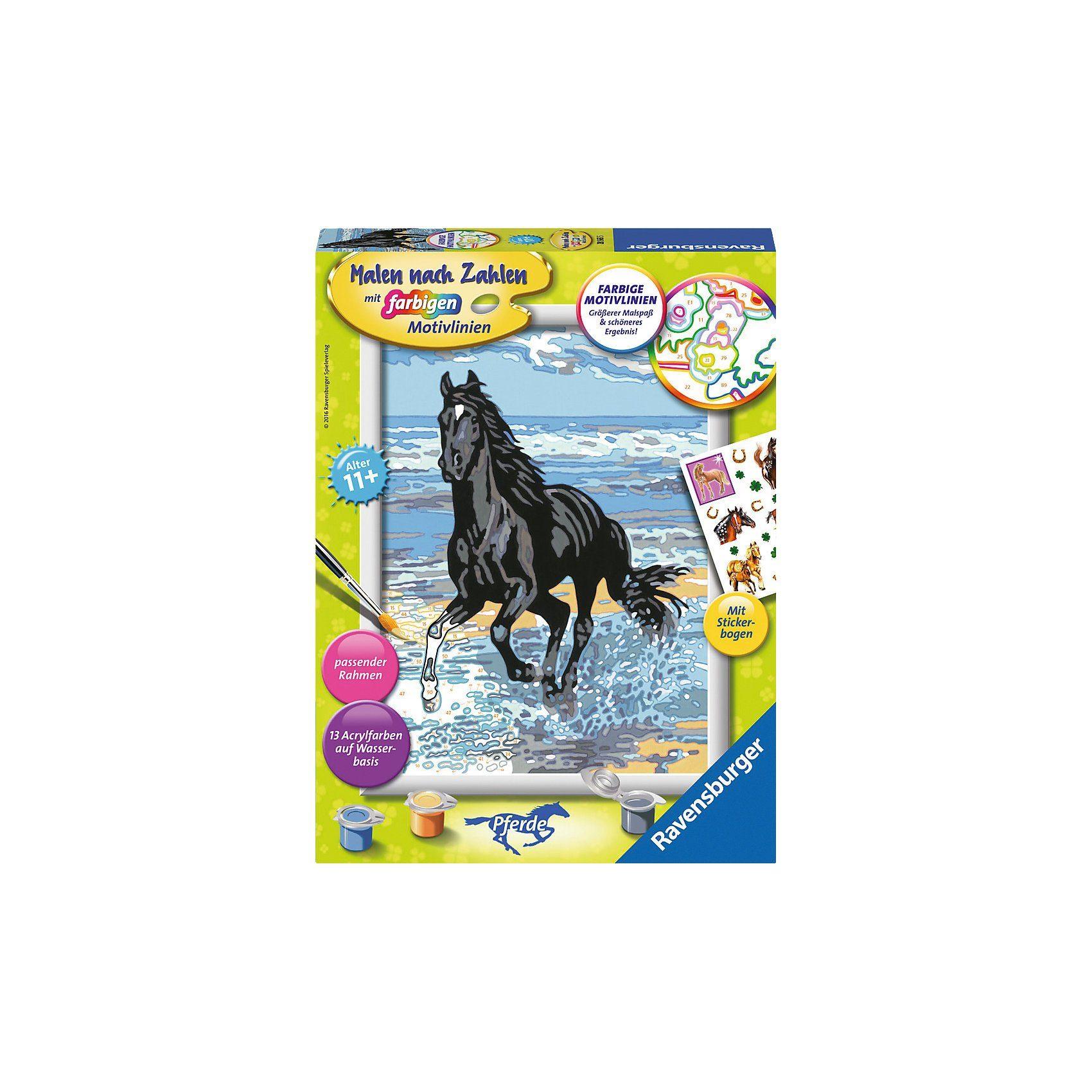 Ravensburger Malen nach Zahlen Pferd am Strand mit Stickerbogen