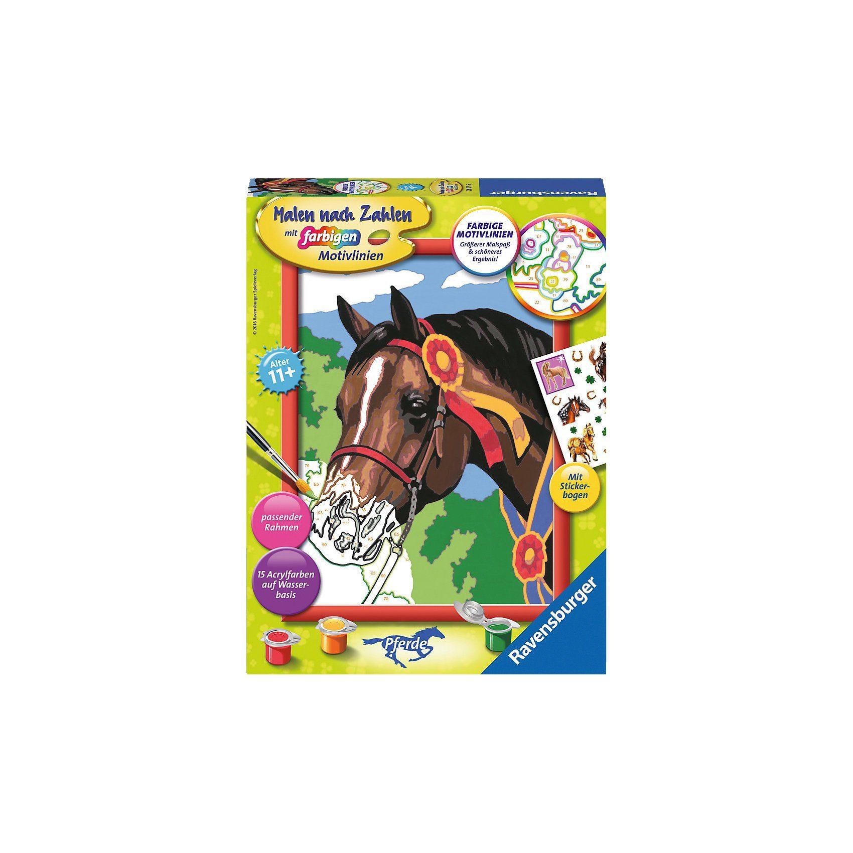 Ravensburger Malen nach Zahlen Pferd beim Reitturnier mit Stickerbogen