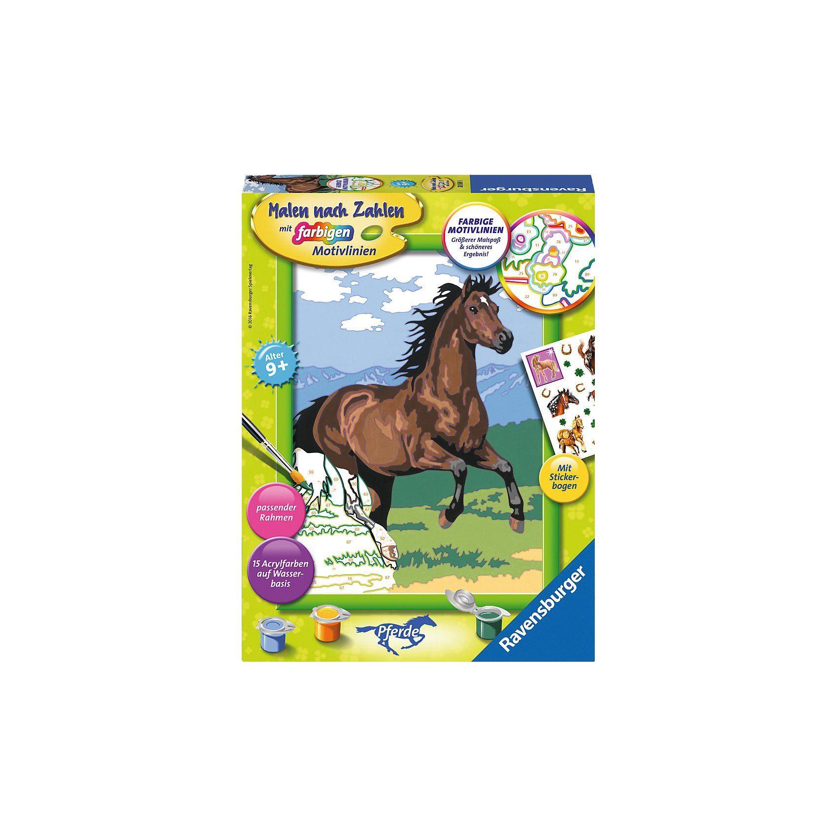 Ravensburger Malen nach Zahlen Galoppierendes Pferd mit Stickerbogen
