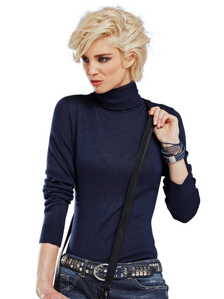 Alba Moda Rollkragenpullover in dunkelblau