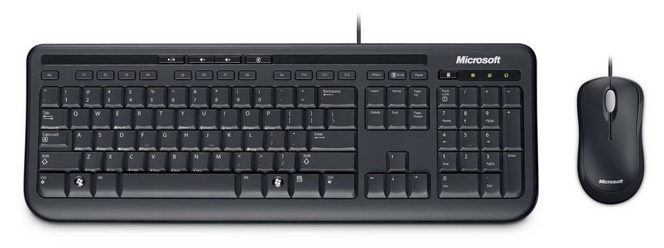 Microsoft Maus und Tastatur Komplettset »Wired Desktop 600 Business« in schwarz