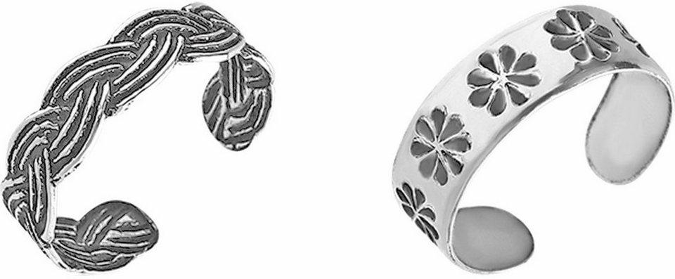 Firetti Zehenring Set »Zopf und Blüten« (Set, 2 tlg.) in Silber 925-schwarz