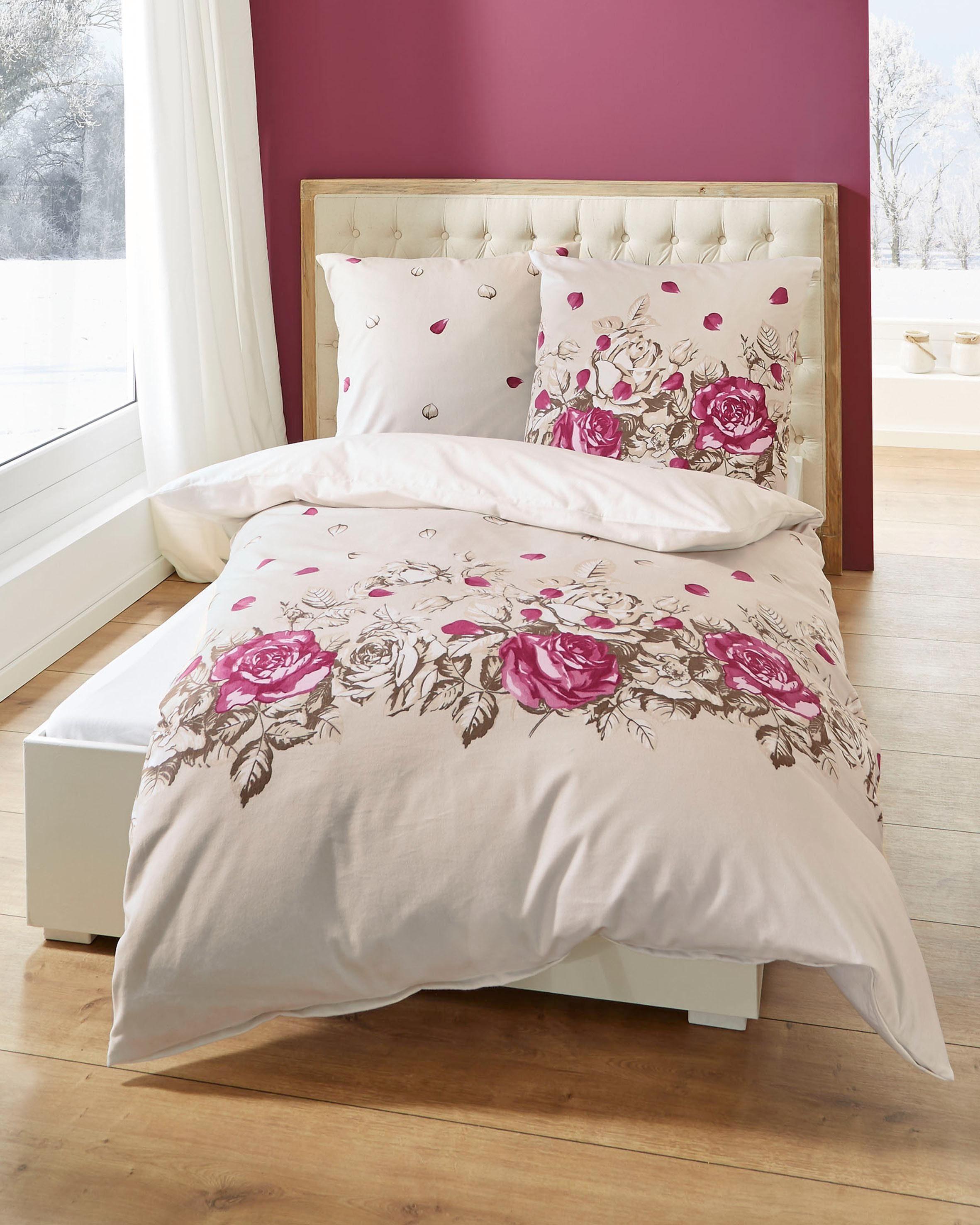 Bettwäsche, Kaeppel, »Rosenblätter«, mit schmückenden Rosen