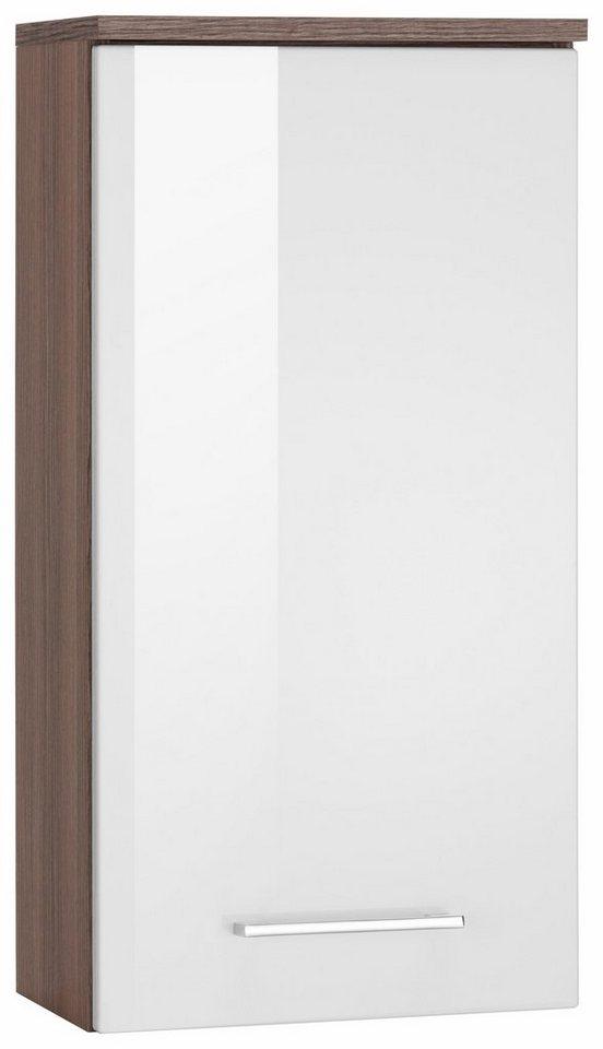 Held Möbel Hängeschrank »Nizza« in eiche dunkel/weiß Hochglanz