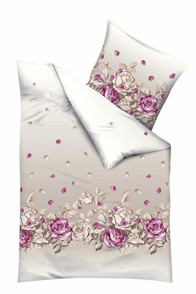 Bettwäsche, Kaeppel, »Rosenblätter«, mit schmückenden Rosen in natur