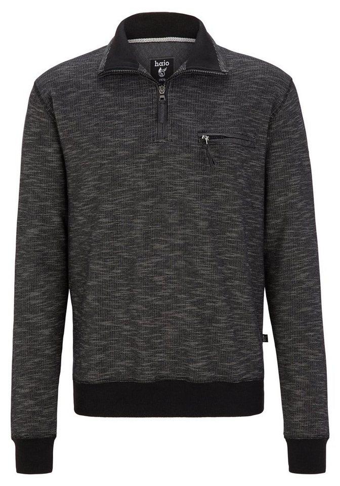 Hajo Sweatshirt Flammengarn in schwarz