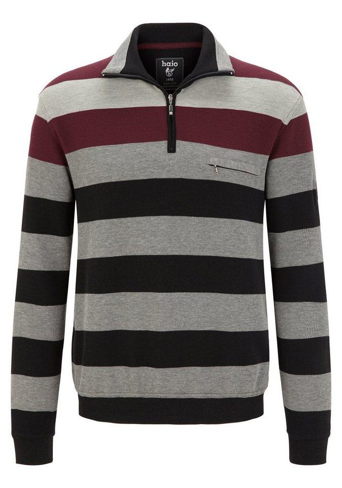 """Hajo Sweatshirt """"Stay Fresh"""" in bordeaux"""