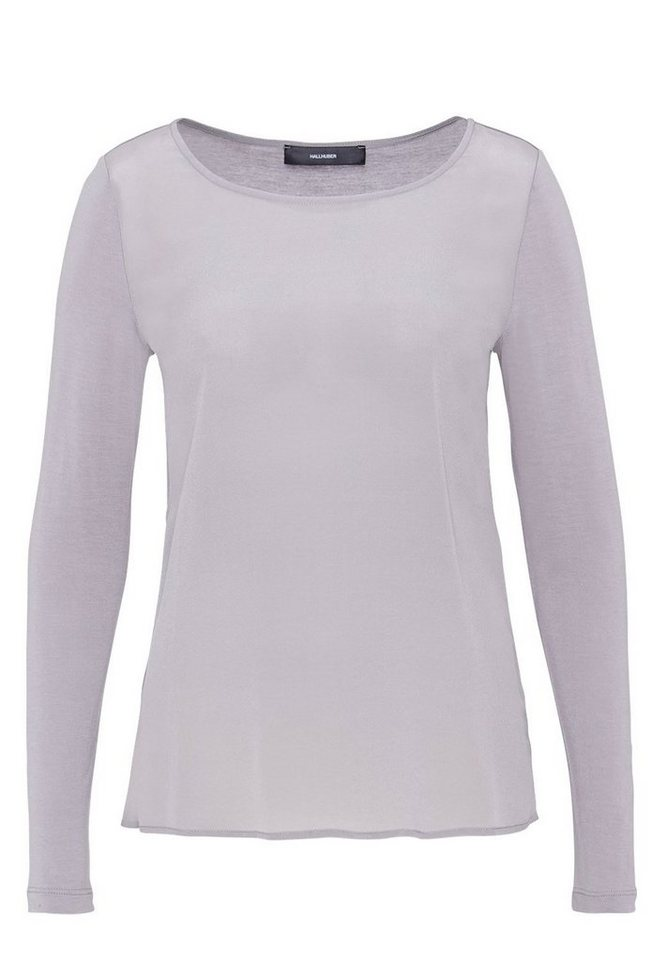 HALLHUBER Longsleeve im Fabric-Mix in silbergrau