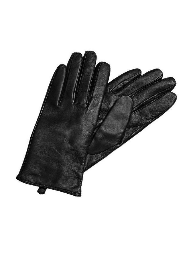 HALLHUBER Lederhandschuhe mit Kaschmirfutter in schwarz