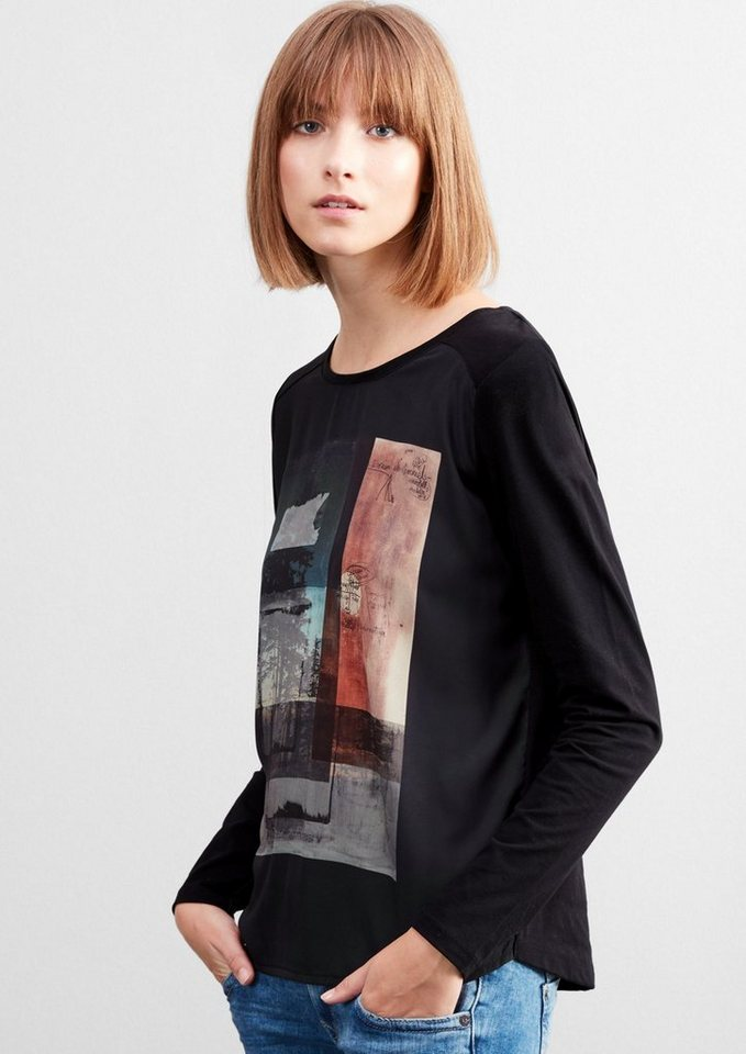 Q/S designed by Langarmshirt mit Blusenfront  in black placed print