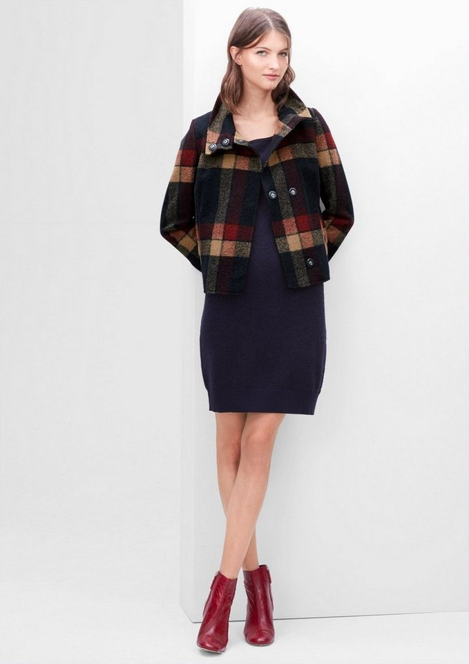 s.Oliver RED LABEL Kurze Jacke aus Woll-Mix in midnight blue check