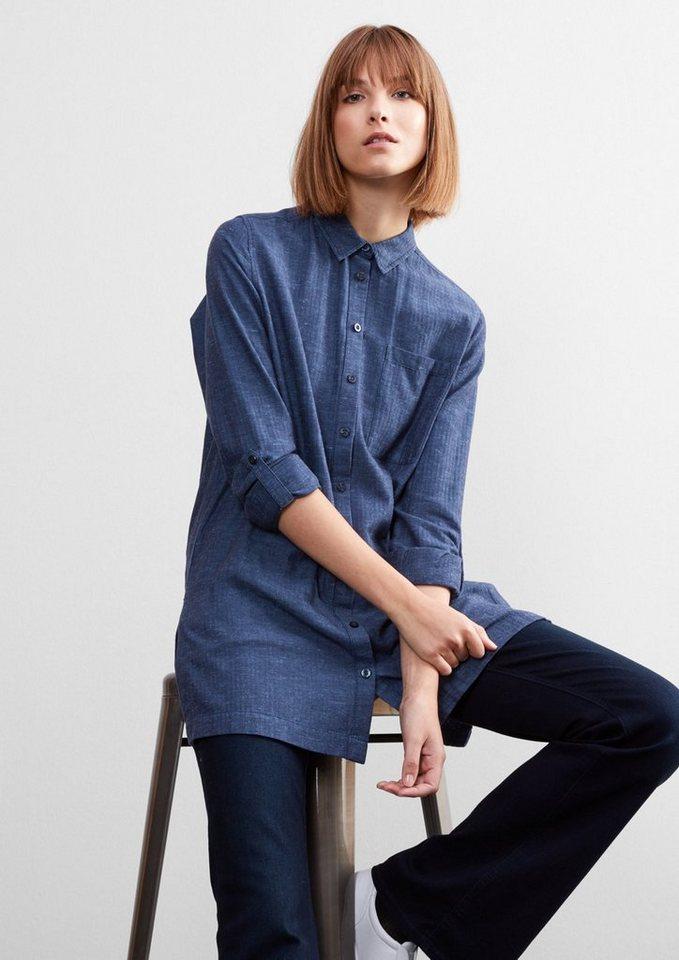 Q/S designed by Melierte Herringbone-Hemdbluse in light bali blue