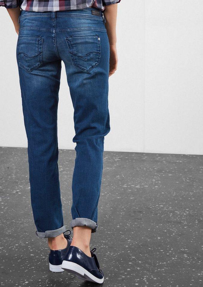 Q/S designed by Straight: Stretchige Bluejeans in blue denim, dark sto