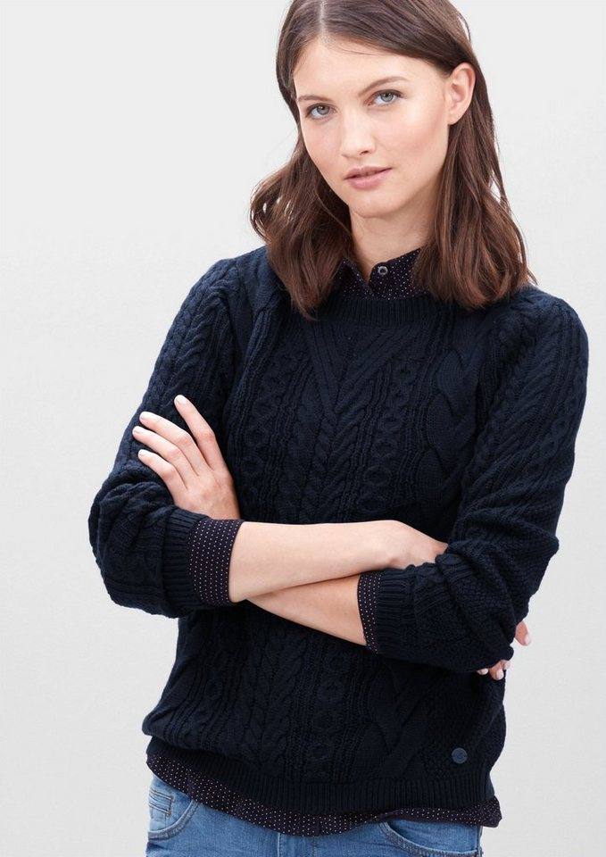 s.Oliver RED LABEL Zopfstrick-Pullover aus Woll-Mix in navy