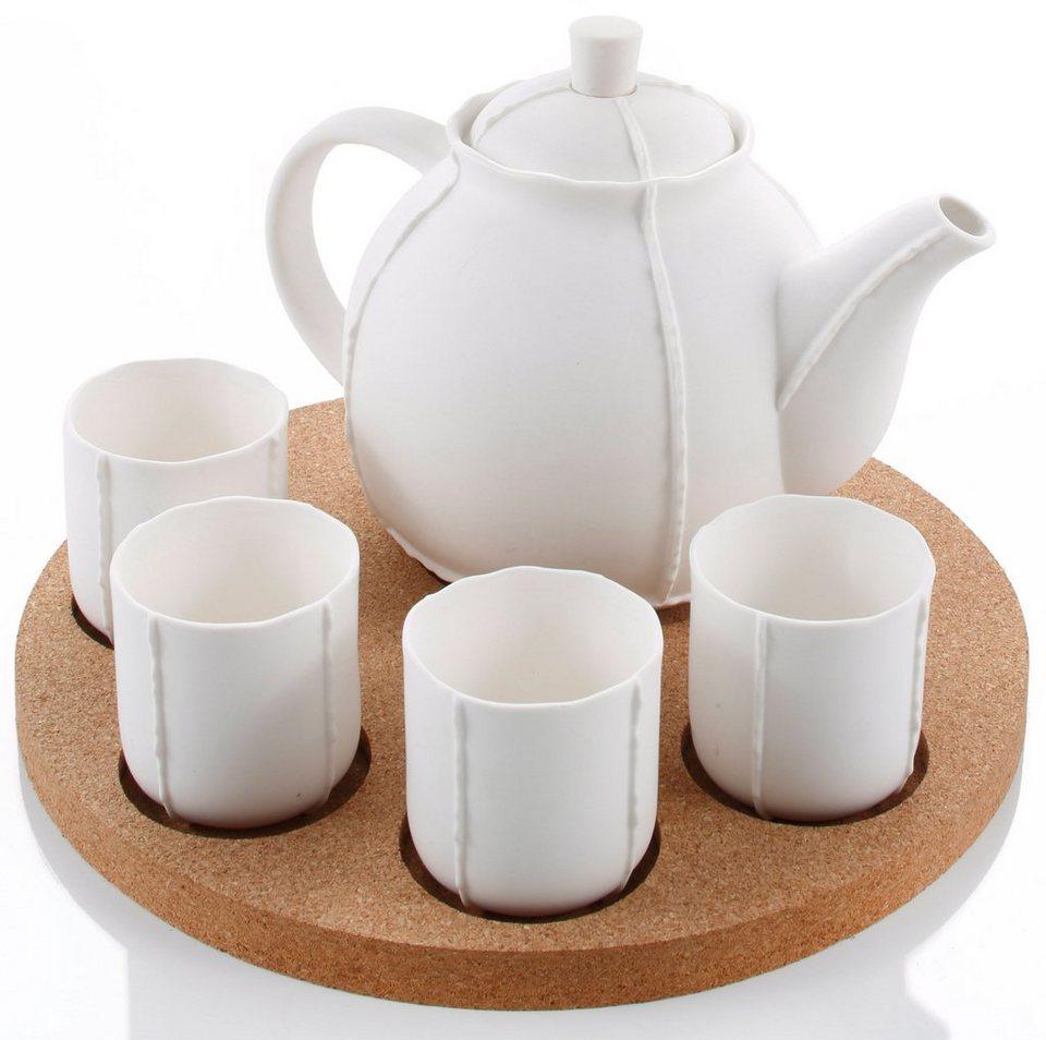 Tee-Set, Porzellan in weiß/natur