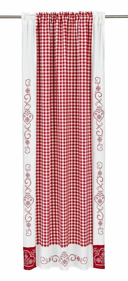 Gardine, Hossner, »Kulm«, mit Stangendurchzug (2 Stück) in weiß/rot