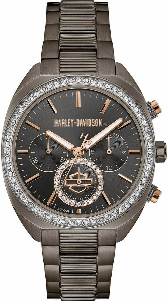 Harley Davidson Chronograph »Lady Gear, 78M103« in anthrazit