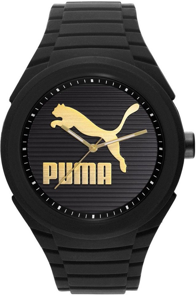 PUMA Quarzuhr »PU10359 Gummy Cat -Black gold, PU103592016« in schwarz