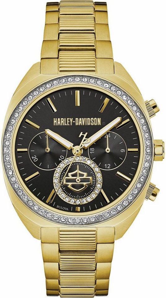 Harley Davidson Chronograph »Lady Gear, 77M103« in goldfarben