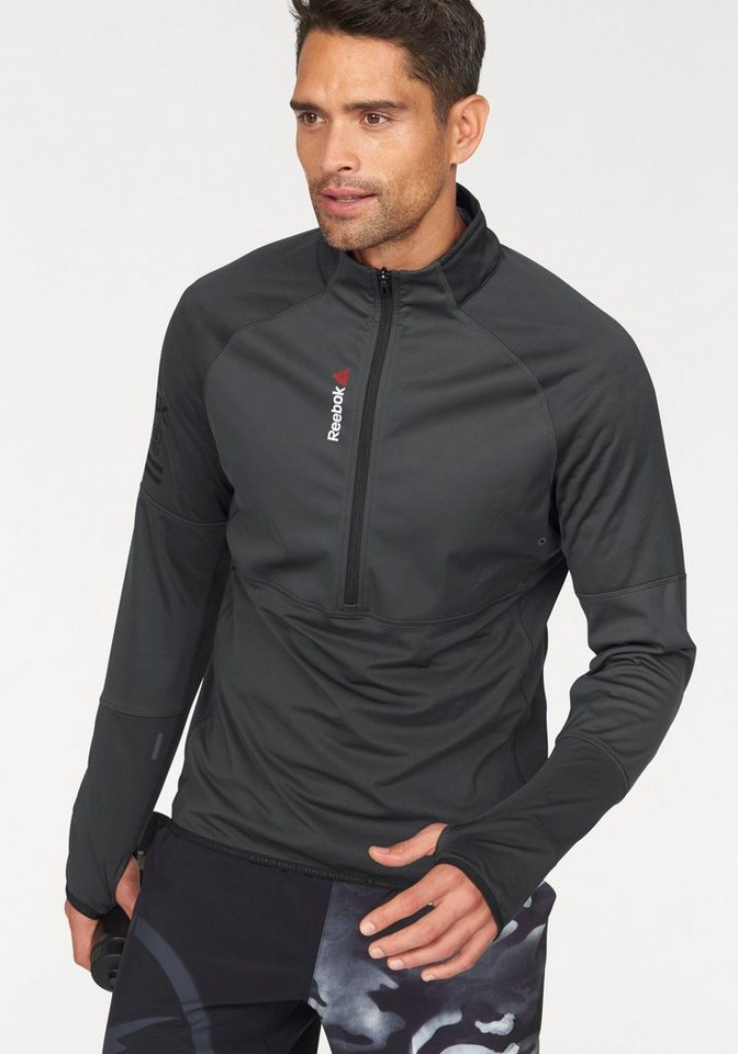 Reebok Langarmshirt »One Series HEXAWARM Thermal SpeedWick« mit Daumenlöchern in schwarz