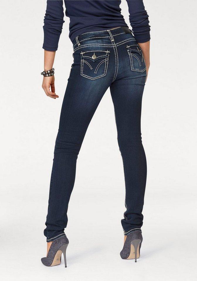 arizona slim fit jeans mit kontrastn hten low waist. Black Bedroom Furniture Sets. Home Design Ideas