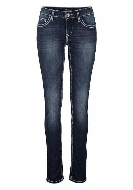 Hosen - Arizona Slim fit Jeans »mit Kontrastnähten und Pattentaschen« Low Waist › blau  - Onlineshop OTTO
