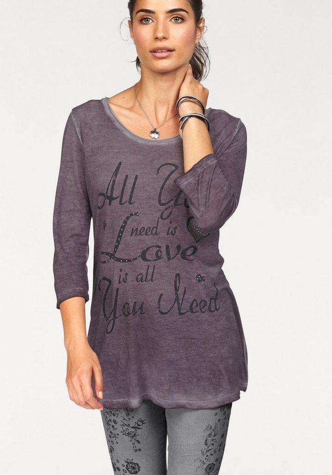 Boysen's Print-Shirt in Used-Färbung mit Glitzersteinchen in lila