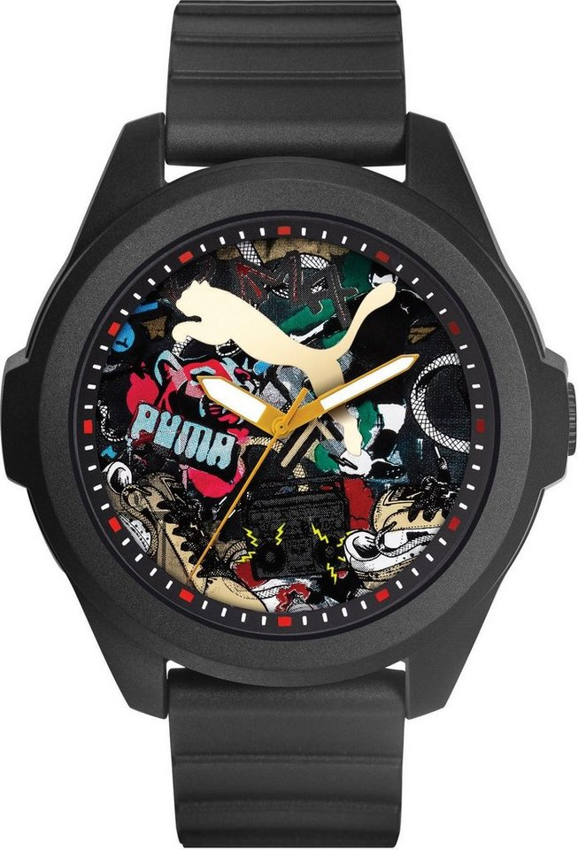 PUMA Quarzuhr »PU91131 Game - Black Graffiti, PU911311007« in schwarz