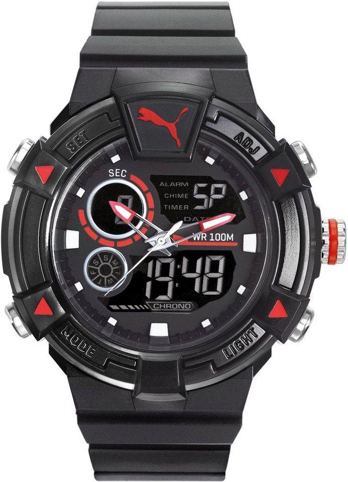 PUMA Chronograph »PU91139 Collide ana digital- Black red, PU911391001« in schwarz
