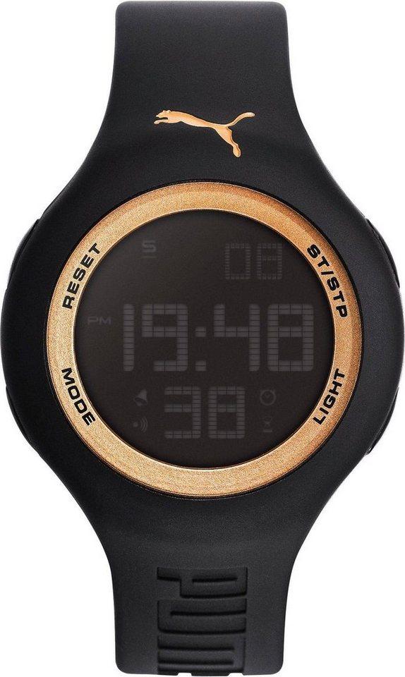 PUMA Chronograph »PU91080 PUMA Loop One 44 - Black gold, PU910801044« in schwarz
