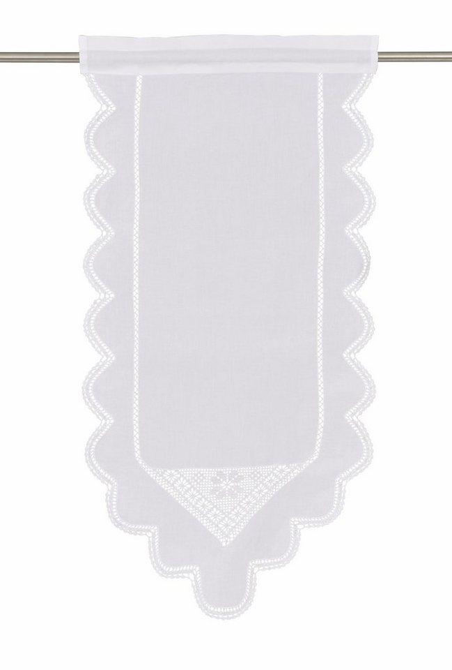Scheibengardine, Hossner, »Wolfgangsee«, mit Stangendurchzug (1 Stück) in weiß