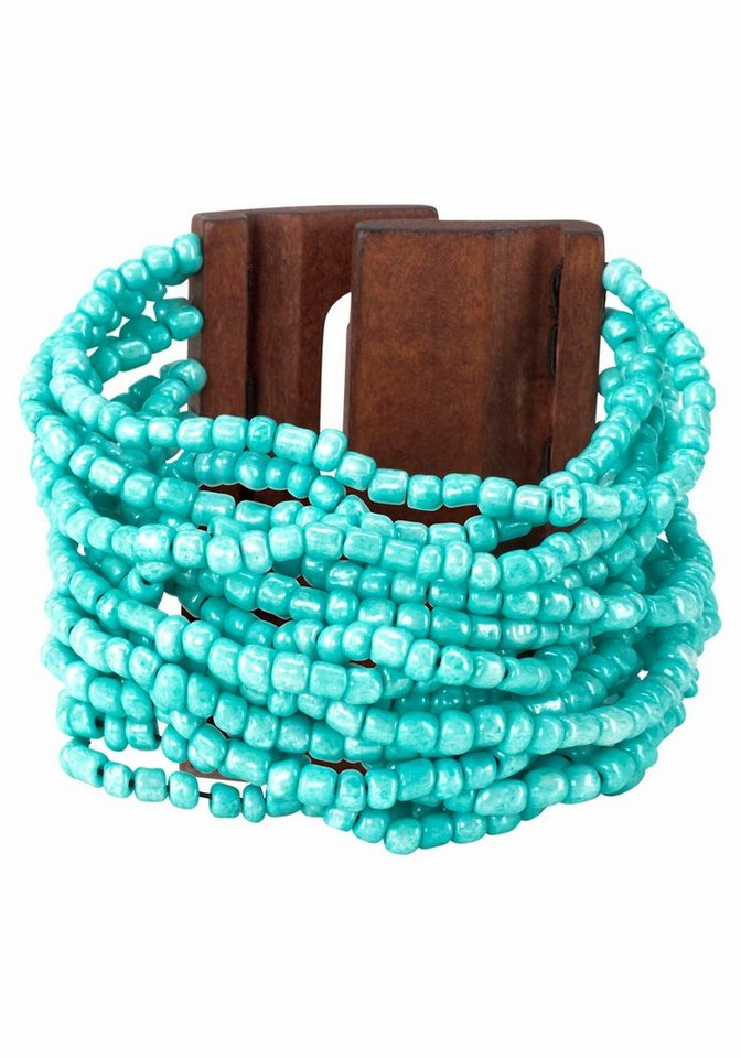 J. Jayz Armband im Materialmix in türkis-braun