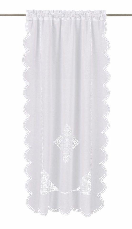 Gardine, Hossner, »Wolfgangsee«, mit Stangendurchzug (1 Stück) in weiß