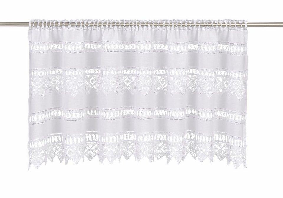 Querbehang, Hossner, »Spitzingsee«, mit Stangendurchzug in weiß
