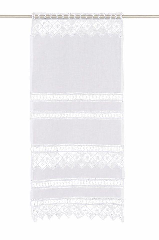 Scheibengardine, Hossner, »Spitzingsee«, mit Stangendurchzug (1 Stück) in weiß