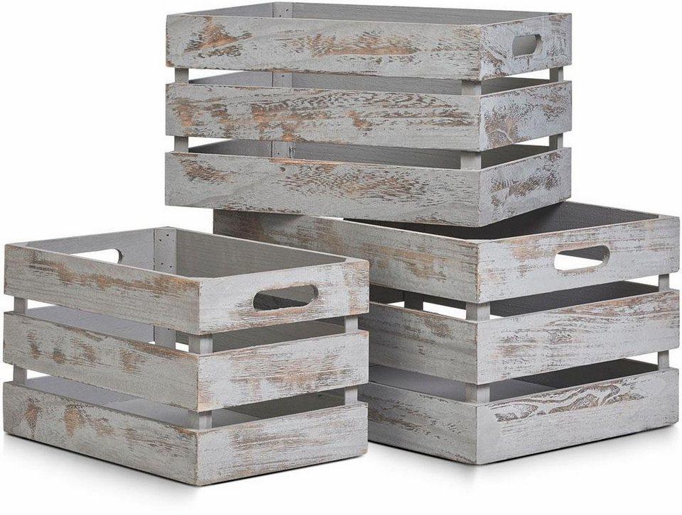 Home affaire Aufbewahrungs-Kiste »Vintage grau« in grau