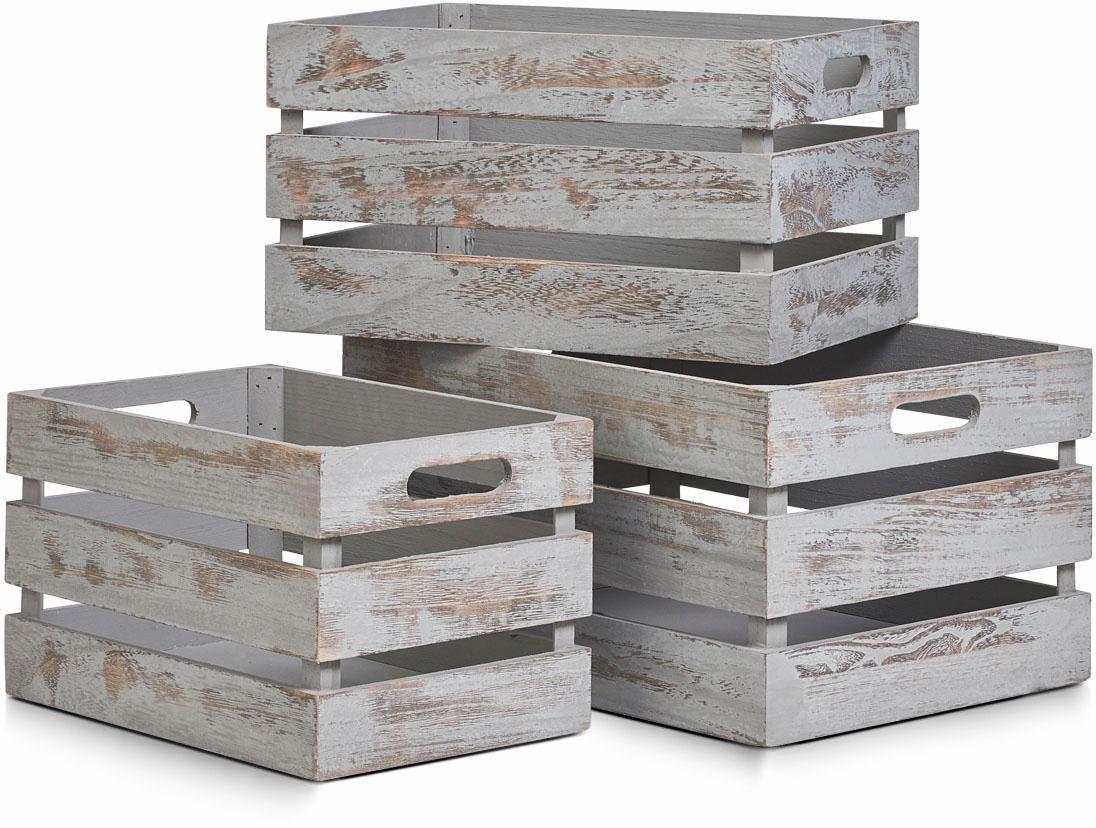 Home affaire Aufbewahrungs-Kiste »Vintage grau«