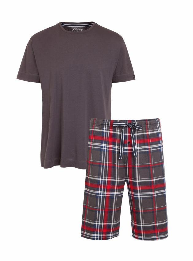 Jockey Pyjama kurz in grau/kariert
