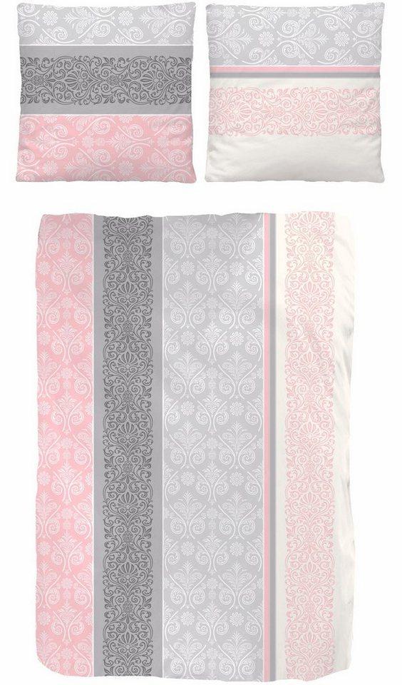 Bettwäsche, my home Selection, »Linda«, mit Ornamenten bedruckt in rosa-grau