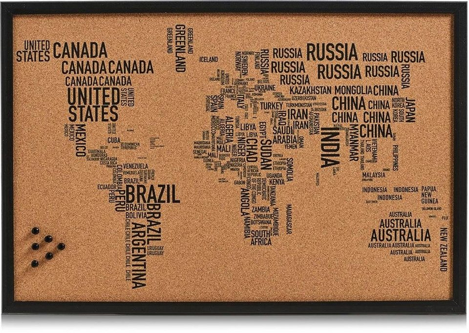Home affaire Pinbord »World Letters« in schwarz