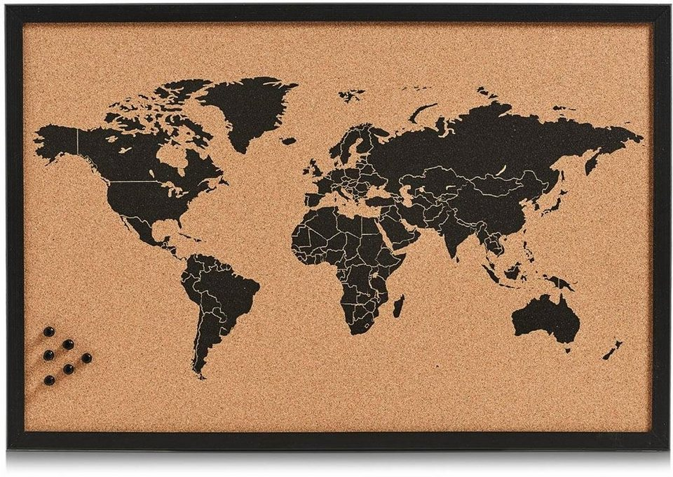 Home affaire Pinbord »World« in schwarz