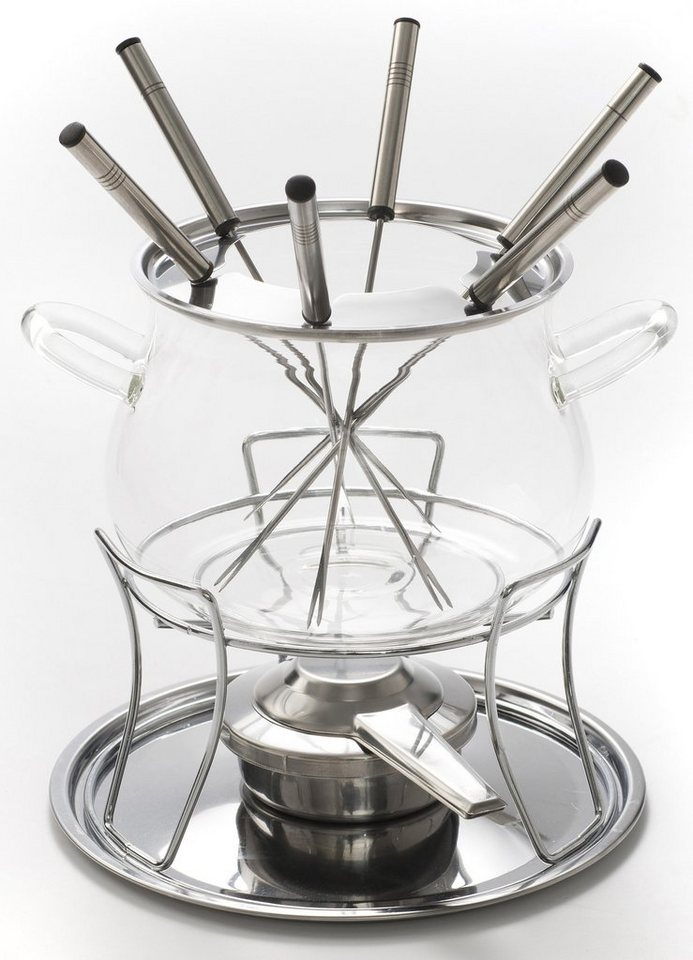 Style'n Cook Fondue-Set, 10-teilig, Borosilikat-Sicherheits-Glas, »SWISS FONDUE« in transparent/silberfarben