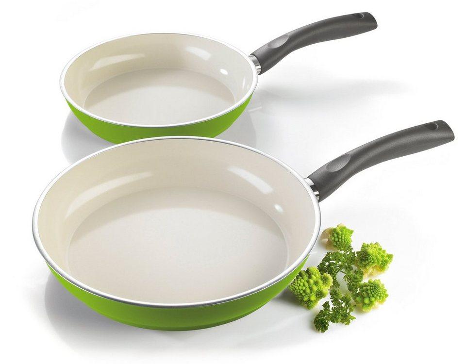 Style'n Cook Bratpfannen-Set, Aluminium, Induktion, »CERAMIC DUO LEMON« in grün/weiß
