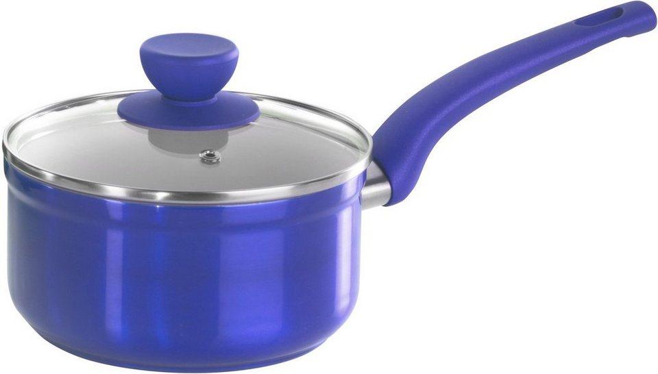 tvs Stielkasserolle, geschmiedetes Aluminium, Induktion in blau/creme